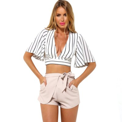 Sexy Plunging Neck Short Flare Sleeve Back Zipper Bowknot Lace-up Patchwork Women Crop Top