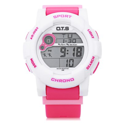 OTS Children Digital Multi Function Waterproof LED Wrist WatchWomens Watches<br>OTS Children Digital Multi Function Waterproof LED Wrist Watch<br><br>Band Material Type: Rubber<br>Case material: Rubber<br>Case Shape: Round<br>Dial Diameter: 4.3<br>Dial Diameter Unit: cm<br>Dial Display: Digital<br>Dial Window Material Type: Hardlex<br>Feature: Alarm,Chronograph,Date,Day,Led Display<br>Gender: Children<br>Movement: Digital<br>Style: Fashion &amp; Casual,Simple,Sport<br>Water Resistance Depth: 30m<br>Product weight: 0.044 kg<br>Package weight: 0.070 kg<br>Product Size(L x W x H): 20.00 x 4.30 x 1.50 cm / 7.87 x 1.69 x 0.59 inches<br>Package Size(L x W x H): 25.00 x 6.50 x 2.00 cm / 9.84 x 2.56 x 0.79 inches<br>Package Contents: 1 x Watch, 1 x Bilingual Manual in Chinese And English