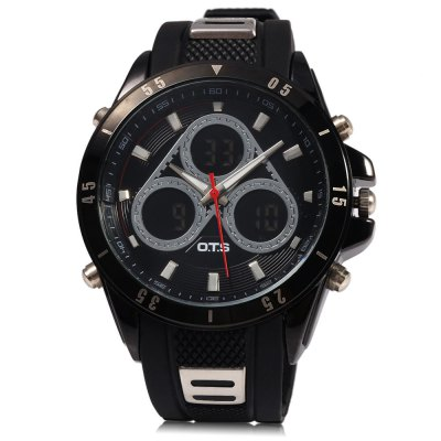 OTS 8155 Men Digital LED Dual Movt Quartz Wrist WatchMens Watches<br>OTS 8155 Men Digital LED Dual Movt Quartz Wrist Watch<br><br>Band Length: 10.6<br>Band Length Unit: inch<br>Band Material Type: Rubber<br>Band Width: 25 mm<br>Case material: Stainless Steel<br>Case Shape: Round<br>Clasp type: Pin buckle<br>Dial Diameter: 1.8<br>Dial Diameter Unit: inch<br>Dial Display: Analog-Digital<br>Dial Window Material Type: Glass<br>Feature: Alarm,Auto Date,Chronograph,Complete Calendar,Date,Day,Led Display,Luminous<br>Gender: Men<br>Movement: Digital,Quartz<br>Style: Fashion &amp; Casual,Sport<br>Water Resistance Depth: 10m<br>Product weight: 0.098 kg<br>Package weight: 0.127 kg<br>Package Size(L x W x H): 32.00 x 6.00 x 3.00 cm / 12.6 x 2.36 x 1.18 inches<br>Package Contents: 1 x Men Watch