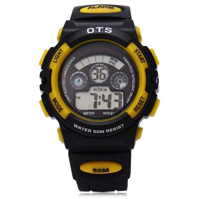 OTS 833 Children LED Digital Sport Watch for BoyMens Watches<br>OTS 833 Children LED Digital Sport Watch for Boy<br><br>Band Length: 7.80 inch<br>Band Material Type: Plastic<br>Band Width: 20mm<br>Case material: Plastic<br>Case Shape: Round<br>Clasp type: Pin clasp<br>Dial Diameter: 1.73 inch<br>Dial Display: Digital<br>Dial Window Material Type: Plastic<br>Feature: Alarm,Auto Date,Chronograph,Complete Calendar,Date,Day,Luminous<br>Gender: Children<br>Movement: Digital<br>Water Resistance Depth: 50m<br>Product weight: 0.045 kg<br>Package weight: 0.074 kg<br>Product Size(L x W x H): 22.50 x 4.40 x 1.60 cm / 8.86 x 1.73 x 0.63 inches<br>Package Size(L x W x H): 32.00 x 7.40 x 1.70 cm / 12.6 x 2.91 x 0.67 inches<br>Package Contents: 1 x OST 833 Children Water Resistance Sport Wristwatch for Boy