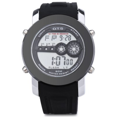 OTS 6355 Men LED Digital Sport WatchMens Watches<br>OTS 6355 Men LED Digital Sport Watch<br><br>Band Length: 7.5 inch<br>Band Material Type: Ribbon<br>Band Width: 22 mm<br>Case material: Alloy<br>Case Shape: Round<br>Clasp type: Dual Pin Buckle<br>Dial Diameter: 1.7 inch<br>Dial Display: Digital<br>Dial Window Material Type: Glass<br>Feature: Alarm,Chronograph,Complete Calendar,Date,Day,Led Display<br>Gender: Men<br>Model Number: 6355<br>Movement: Digital<br>Style: Sport<br>Water Resistance Depth: 10m<br>Product weight: 0.103 kg<br>Package weight: 0.125 kg<br>Product Size(L x W x H): 23.00 x 4.50 x 1.50 cm / 9.06 x 1.77 x 0.59 inches<br>Package Size(L x W x H): 24.00 x 5.50 x 2.50 cm / 9.45 x 2.17 x 0.98 inches<br>Package Contents: 1 x OTS 6355 Men LED Digital Sport Watch