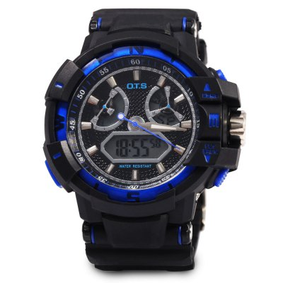 OTS 8061 Men LED Digital Analog Quartz WristwatchMens Watches<br>OTS 8061 Men LED Digital Analog Quartz Wristwatch<br><br>Band Length: 10.5<br>Band Length Unit: inch<br>Band Material Type: PU<br>Band Width: 25 mm<br>Case material: Stainless Steel<br>Case Shape: Round<br>Clasp type: Pin buckle<br>Dial Diameter: 1.7<br>Dial Diameter Unit: inch<br>Dial Display: Analog-Digital<br>Dial Window Material Type: Glass<br>Feature: Alarm,Auto Date,Complete Calendar,Date,Day,Led Display,Luminous<br>Gender: Men<br>Movement: Digital,Quartz<br>Style: Fashion &amp; Casual,Sport<br>Water Resistance Depth: 50m<br>Product weight: 0.058 kg<br>Package weight: 0.086 kg<br>Package Size(L x W x H): 30.00 x 7.00 x 3.00 cm / 11.81 x 2.76 x 1.18 inches<br>Package Contents: 1 x Men Watch