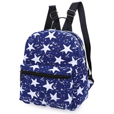 Women Lucky Star Print Pattern Zipper Canvas Backpack