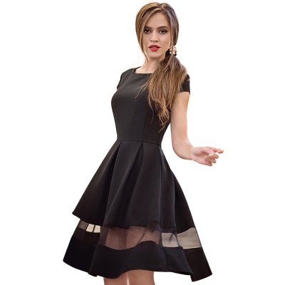Round Collar Short Sleeve Gauze Patchwork Pleated Back Zipper Mid-calf Ball Gown Pure Color Women Dress