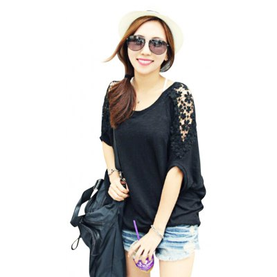 Round Collar Short Batwing Sleeve Lace Patchwork Hollow Out Loose Pure Color Women T-shirt