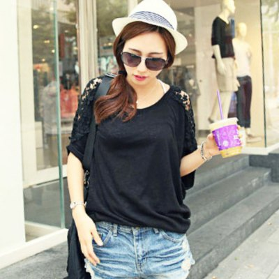 Stylish Round Collar Short Batwing Sleeve Lace Patchwork Hollow Out Loose Pure Color Women T-shirt