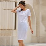 Casual Round Collar Short Sleeve Solid Color Hollow Out See-Through Women Dress photo