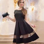 cheap Trendy Round Collar Short Sleeve Gauze Patchwork Pleated Back Zipper Mid-calf Ball Gown Pure Color Women Dress