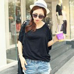 cheap Stylish Round Collar Short Batwing Sleeve Lace Patchwork Hollow Out Loose Pure Color Women T-shirt