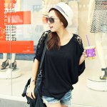 Stylish Round Collar Short Batwing Sleeve Lace Patchwork Hollow Out Loose Pure Color Women T-shirt deal