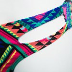 Old Classical Style Spaghetti Strap Tribal Print Padded Women Two Piece Swimset photo