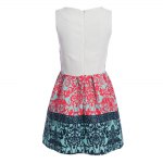 best Stylish Round Collar Sleeveless Printed Color Block A-Line Women Ball Gown Dress