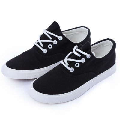 Female Trendy Lace-up Canvas Casual Flat Shoes