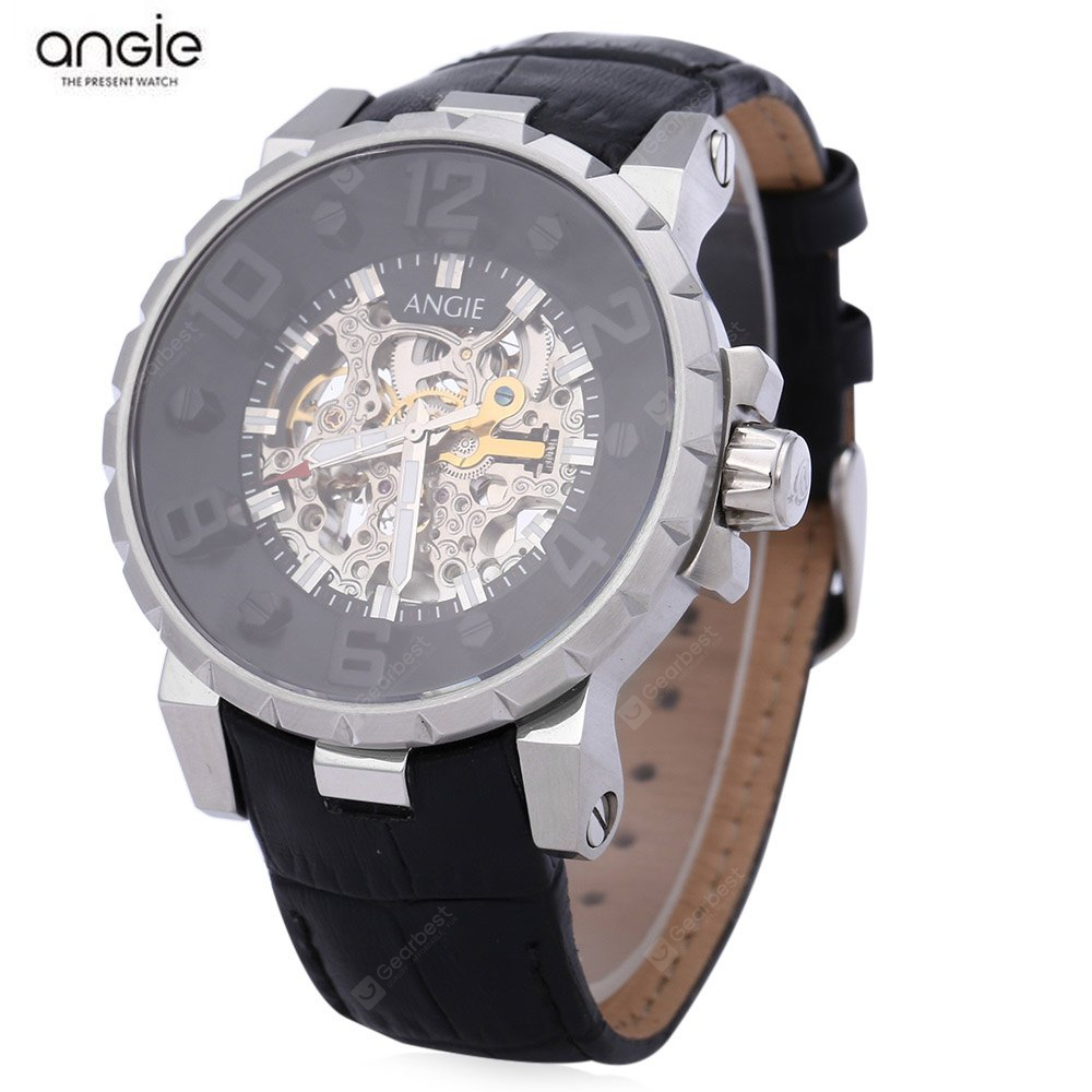 Angie ST7135M Unique Series Male Automatic Wind Mechanical Watch SILVER