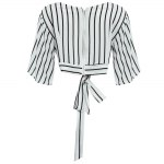 best Sexy Plunging Neck Short Flare Sleeve Back Zipper Bowknot Lace-up Patchwork Women Crop Top
