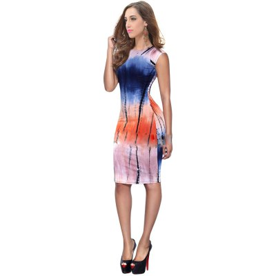 Chic Round Collar Short Sleeve Ombre Skinny Women Midi Dress