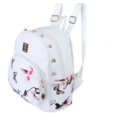Guapabien Women Butterfly Daffodil Print Letter Rivet Embelllishment Spoon Zipper Head Backpack Portable Bag