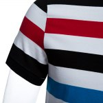 DZW Casual Turn Down Collar Short Sleeve Color Striped Men Polo Shirt for sale
