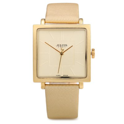 Julius JA - 354 Ultrathin Square Dial Analog Unisex Quartz WatchUnisex Watches<br>Julius JA - 354 Ultrathin Square Dial Analog Unisex Quartz Watch<br><br>Brand: Julius<br>People: Unisex table<br>Watch style: Fashion<br>Available color: Black,Brown,Gold,White<br>Shape of the dial: Square<br>Movement type: Quartz watch<br>Display type: Analog<br>Case material: Stainless Steel<br>Band material: Leather<br>Clasp type: Pin buckle<br>Water resistance : 30 meters<br>The dial thickness: 0.8 cm / 0.31 inches<br>The dial diameter: 3.4 cm / 1.34 inches<br>The band width: 1.9 cm / 0.75 inches<br>Wearable length: 17.5 - 21.5 cm / 6.89 - 8.46 inches<br>Product weight: 0.035 kg<br>Package weight: 0.090 kg<br>Product size (L x W x H): 24.00 x 3.40 x 0.80 cm / 9.45 x 1.34 x 0.31 inches<br>Package size (L x W x H): 25.00 x 4.40 x 1.80 cm / 9.84 x 1.73 x 0.71 inches<br>Package Contents: 1 x Julius JA - 354 Square Leather Unisex Quartz Watch