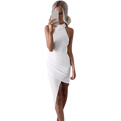 Jewel Collar Sleeveless White Asymmetrical Women Club Dress