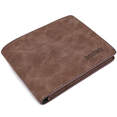 Guapabien Men Solid Color Letter Open Short Horizontal Wallet