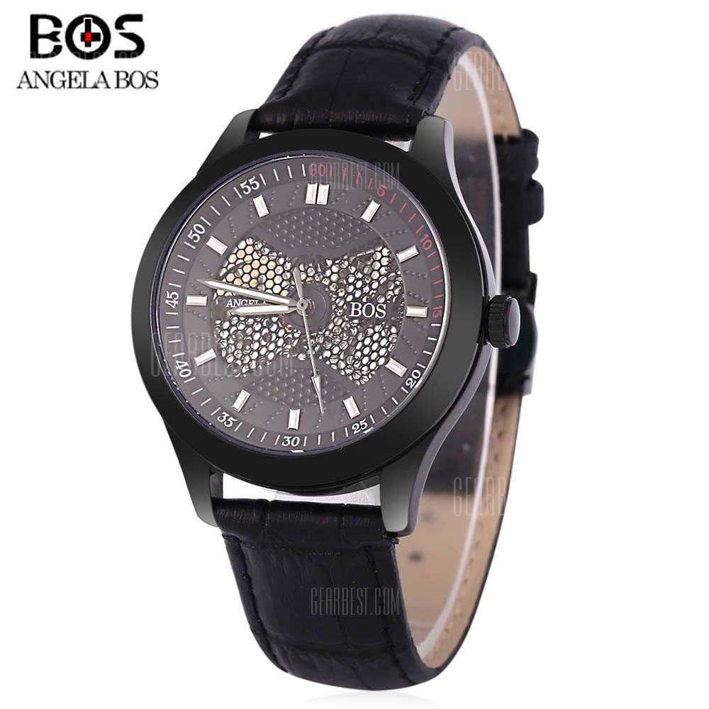 Angela Bos 9015G Men Automatic Wind Mechanical Watch BLACK