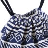 best Women Ethnic Striped Geometric Print Tensibility Rope Canvas Backpack