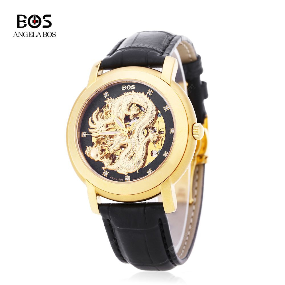 Angela Bos 9007G Men Automatic Wind Mechanical Watch BLACK