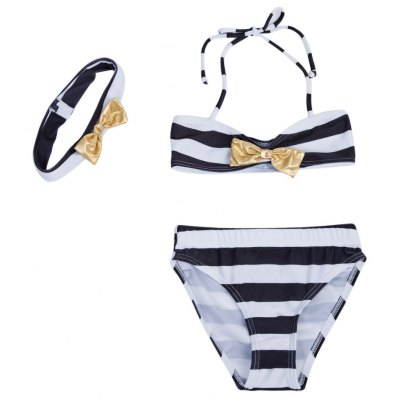3pcs Cute Bowknot Striped Strap Bikini Swimsuit with Hairband for Girls