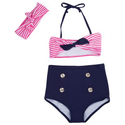 3pcs Cute Striped Bowknot High Waist String Girls Bikini Swimsuit with Headband