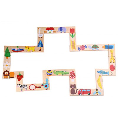28pcs Kids Creative Assembling Cartoon Animal Solitaire Domino
