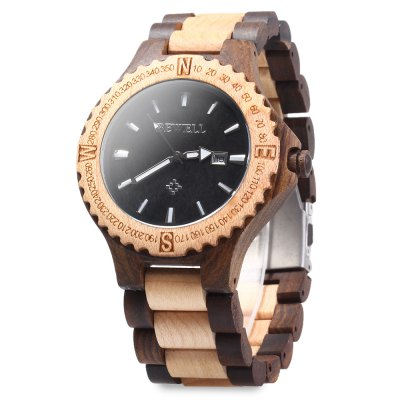 BEWELL ZS - W023A Wooden Calendar Quartz Watch