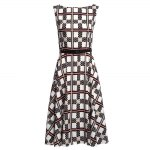 cheap Vintage Round Collar Sleeveless Plaid Print Ball Gown Patchwork with Belt Knee-length Women Dress