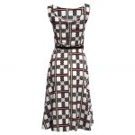 Vintage Round Collar Sleeveless Plaid Print Ball Gown Patchwork with Belt Knee-length Women Dress deal