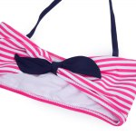 3pcs Cute Striped Bowknot High Waist String Girls Bikini Swimsuit with Headband deal