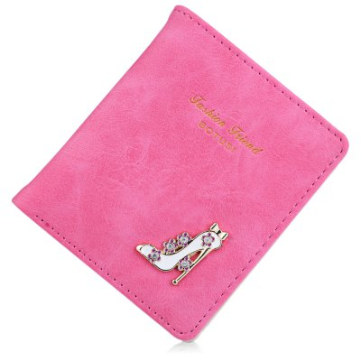 Lady High Heeled Shoes Flower Letter Rhinestone Solid Color Hasp Short Wallet