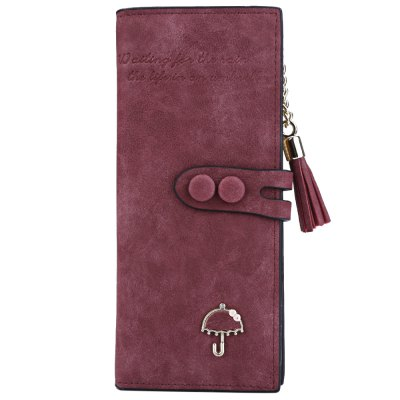 Women Umbrella Tassel Solid Color Letter Dual Snap Fasteners Long Clutch WalletWomens Wallets<br>Women Umbrella Tassel Solid Color Letter Dual Snap Fasteners Long Clutch Wallet<br><br>Wallets Type: Clutch Wallets<br>Gender: For Women<br>Style: Fashion<br>Closure Type: Zipper&amp;Hasp<br>Pattern Type: Solid<br>Main Material: PU Leather<br>Hardness: Soft<br>Interior: Interior Slot Pocket<br>Embellishment: Tassel<br>Height: 19.8 cm / 7.80 inch<br>Width: 1.8 cm / 0.71 inch<br>Length(CM): 9.2 cm / 3.62 inch<br>Product weight: 0.122 kg<br>Package weight: 0.145 kg<br>Package size (L x W x H): 9.70 x 2.30 x 20.30 cm / 3.82 x 0.91 x 7.99 inches<br>Package Contents: 1 x Wallet