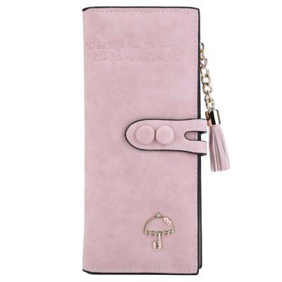 Women Umbrella Tassel Solid Color Letter Dual Snap Fasteners Long Clutch Wallet
