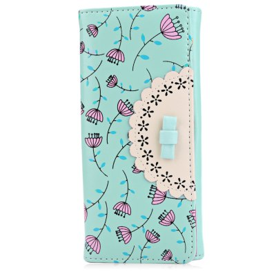 Lady Bowknot Floral Hasp Vertical Long Clutch Wallet