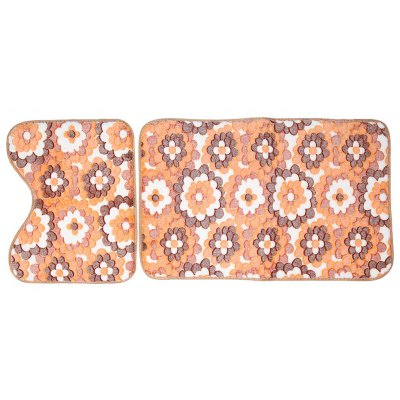 Coral Fleece Floor Bath Mats Set