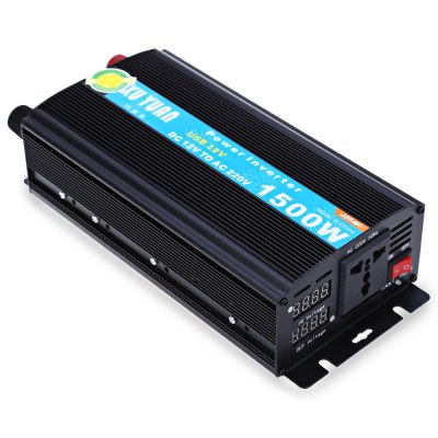 1500W DC 12V to AC 220V Car Power InverterOther Car Gadgets<br>1500W DC 12V to AC 220V Car Power Inverter<br><br>Type (Fire Safety): DC to AC 1500W Car Power Inverter<br>Product weight: 1.338 kg<br>Package weight: 1.671 kg<br>Product Size(L x W x H): 25.80 x 11.80 x 6.50 cm / 10.16 x 4.65 x 2.56 inches<br>Package Size(L x W x H): 33.00 x 13.50 x 19.50 cm / 12.99 x 5.31 x 7.68 inches<br>Package Contents: 1 x DC to AC 1500W Car Power Inverter, 2 x Extension Adapter Cord, 1 x Bilingual User Manual in English and Chinese