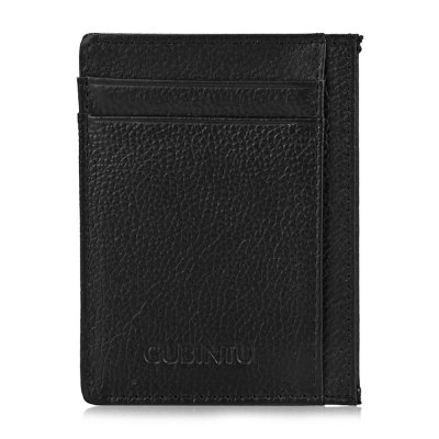 Men Solid Color Letter Lichee Pattern Vertical Thin Card Wallet