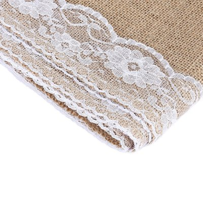 12 x 108 Inches Burlap Lace Hessian Table Runner