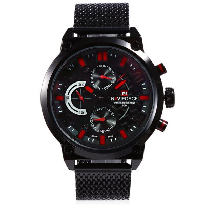 NAVIFORCE NF9068M Male Quartz WatchMens Watches<br>NAVIFORCE NF9068M Male Quartz Watch<br><br>Band Length: 7.87 inch<br>Band Material Type: Stainless Steel<br>Band Width: 22mm<br>Case material: Alloy<br>Case Shape: Round<br>Clasp type: Hook Buckle<br>Dial Diameter: 1.89 inch<br>Dial Display: Analog<br>Dial Window Material Type: Hardlex<br>Feature: Date,Day<br>Gender: Men<br>Movement: Quartz<br>Style: Business<br>Water Resistance Depth: 30m<br>Product weight: 0.133 kg<br>Package weight: 0.142 kg<br>Product Size(L x W x H): 26.00 x 5.00 x 1.00 cm / 10.24 x 1.97 x 0.39 inches<br>Package Size(L x W x H): 27.00 x 6.00 x 2.00 cm / 10.63 x 2.36 x 0.79 inches<br>Package Contents: 1 x NAVIFORCE NF9068M Male Quartz Watch