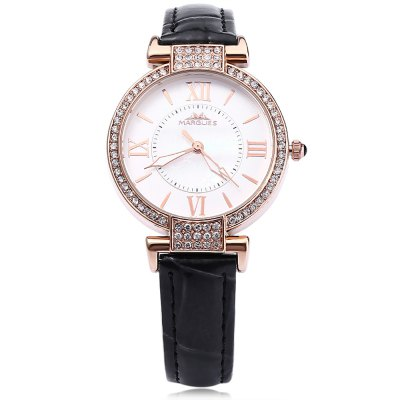 MARGUES M - 3018 Women Quartz WatchWomens Watches<br>MARGUES M - 3018 Women Quartz Watch<br><br>Band Length: 7.95 inch<br>Band Material Type: Leather<br>Band Width: 14 mm<br>Case material: Alloy<br>Case Shape: Round<br>Clasp type: Pin Buckle<br>Dial Diameter: 1.31 inch<br>Dial Display: Analog<br>Dial Window Material Type: Mineral Glass Mirror<br>Gender: Women<br>Movement: Quartz<br>Style: Dress<br>Water Resistance Depth: 30m<br>Product weight: 0.030 kg<br>Package weight: 0.056 kg<br>Product Size(L x W x H): 23.80 x 3.60 x 0.70 cm / 9.37 x 1.42 x 0.28 inches<br>Package Size(L x W x H): 24.80 x 4.60 x 1.70 cm / 9.76 x 1.81 x 0.67 inches<br>Package Contents: 1 x MARGUES M - 3018 Women Quartz Watch
