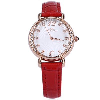 Margues M3017 Women Quartz WatchWomens Watches<br>Margues M3017 Women Quartz Watch<br><br>Band Length: 7.48 inch<br>Band Material Type: Genuine Leather<br>Band Width: 1.8 mm<br>Case material: Alloy<br>Case Shape: Round<br>Clasp type: Pin Buckle<br>Dial Diameter: 1.26 inch<br>Dial Display: Analog<br>Dial Window Material Type: Hardlex<br>Gender: Women<br>Movement: Quartz<br>Style: Luxury<br>Water Resistance Depth: 30m<br>Product weight: 0.028 kg<br>Package weight: 0.050 kg<br>Product Size(L x W x H): 23.50 x 3.50 x 0.80 cm / 9.25 x 1.38 x 0.31 inches<br>Package Size(L x W x H): 24.50 x 4.50 x 1.80 cm / 9.65 x 1.77 x 0.71 inches<br>Package Contents: 1 x Women Quartz Watch