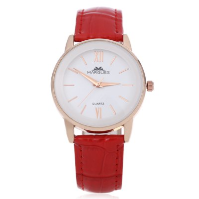 Margues M - 3027 Women Quartz WatchWomens Watches<br>Margues M - 3027 Women Quartz Watch<br><br>Band Length: 7.8 inch<br>Band Material Type: Leather<br>Band Width: 18mm<br>Case material: Alloy<br>Case Shape: Round<br>Clasp type: Pin buckle<br>Dial Diameter: 1.33 inch<br>Dial Display: Analog<br>Dial Window Material Type: Glass<br>Gender: Women<br>Movement: Quartz<br>Style: Simple<br>Water Resistance Depth: 30m<br>Product weight: 0.033 kg<br>Package weight: 0.058 kg<br>Product Size(L x W x H): 23.50 x 3.60 x 0.70 cm / 9.25 x 1.42 x 0.28 inches<br>Package Size(L x W x H): 24.50 x 4.50 x 1.50 cm / 9.65 x 1.77 x 0.59 inches<br>Package Contents: 1 x Margues M - 3027 Women Quartz Watch