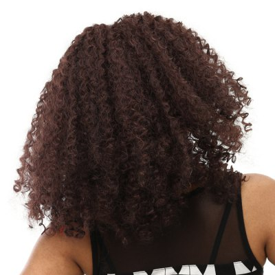 Synthetic Heat Resistant Afro Wig Long Curly Brown Hair