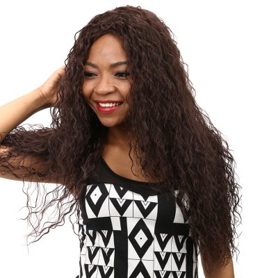 Synthetic Heat Resistant Wig African Ultra Long Curly Brown Hair