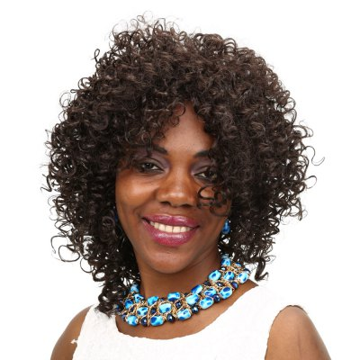 Synthetic Heat Resistant Afro Wig Medium Curly Brown Hair
